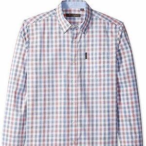 Ben Sherman 2XL LS White Check Button Down Shirt
